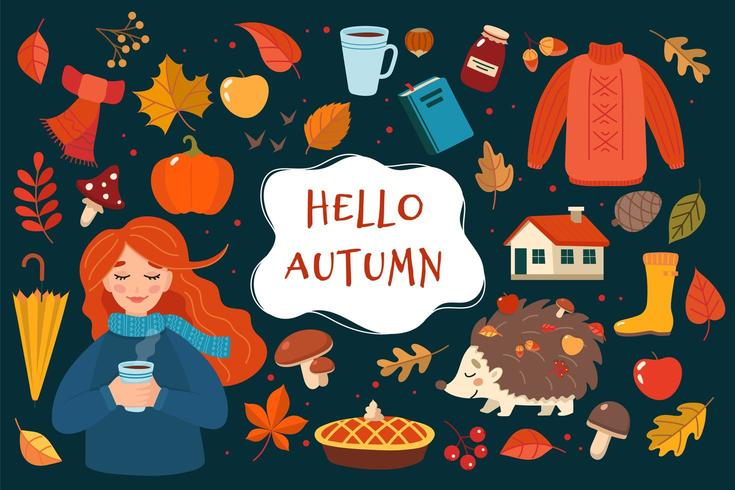 Gezeichnete Elementsammlung des Herbstes Hand mit Beschriftung auf dunklem Hintergrund vektor
