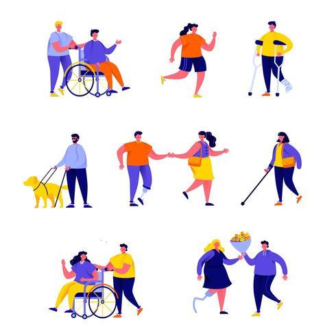 Uppsättning platt handikappade personer med sina partners vektor