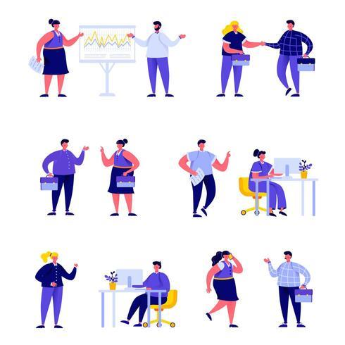 Uppsättning av plana kontorsarbetare som möter och pratar vektor