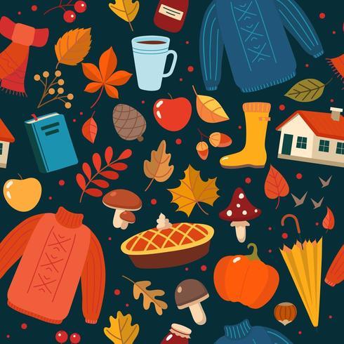 Gezeichnetes nahtloses Muster des Herbstes Hand mit Saisonelementen auf dunklem Hintergrund vektor