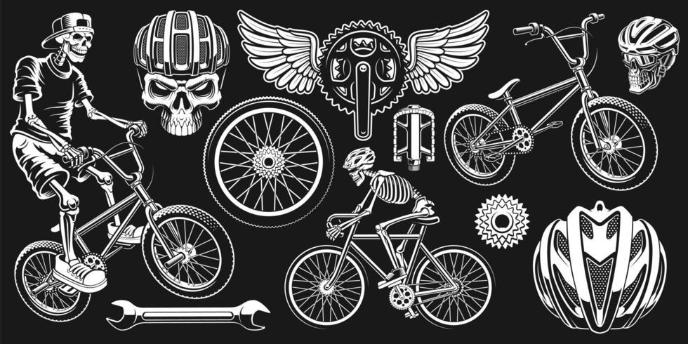 Radfahrer-Schädel eingestellt auf schwarzen Hintergrund vektor