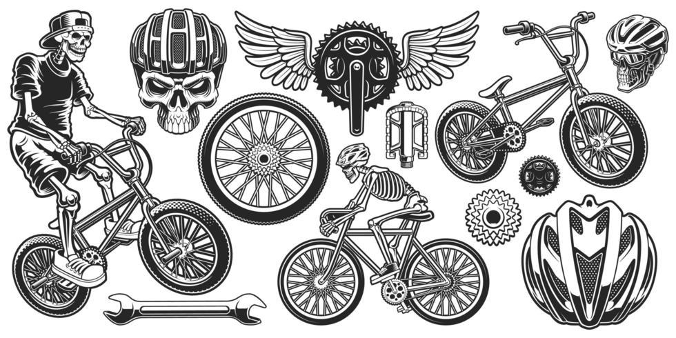 Satz themenorientierte Entwürfe des Schwarzweiss-Radfahrers vektor