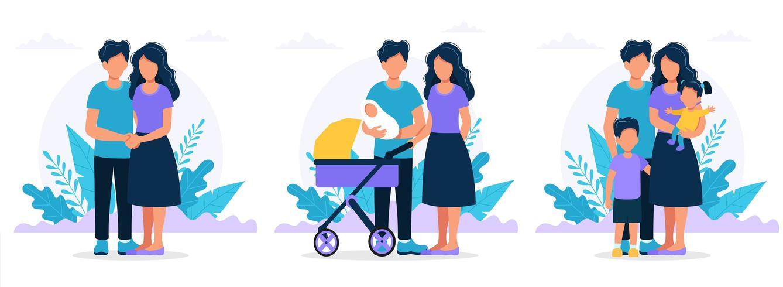 Familj i olika stadier. vektor