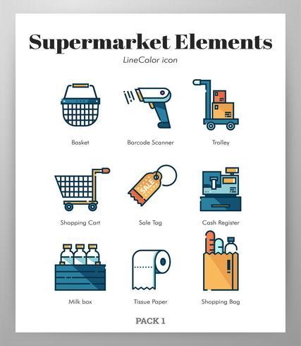 Supermarket element Line Color pack vektor