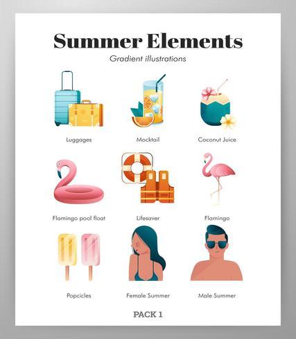 Sommer Elemente Icon Pack vektor