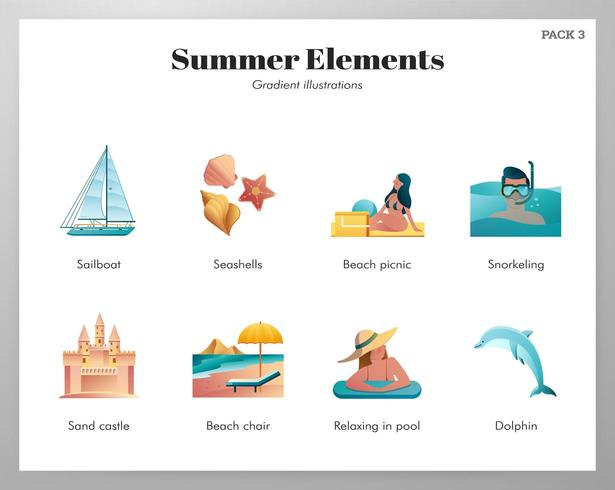 Sommar element ikon pack vektor