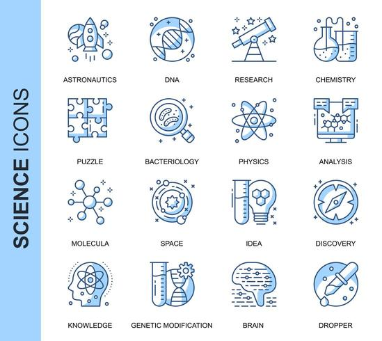 Blå tunn linje vetenskap relaterade ikoner set vektor