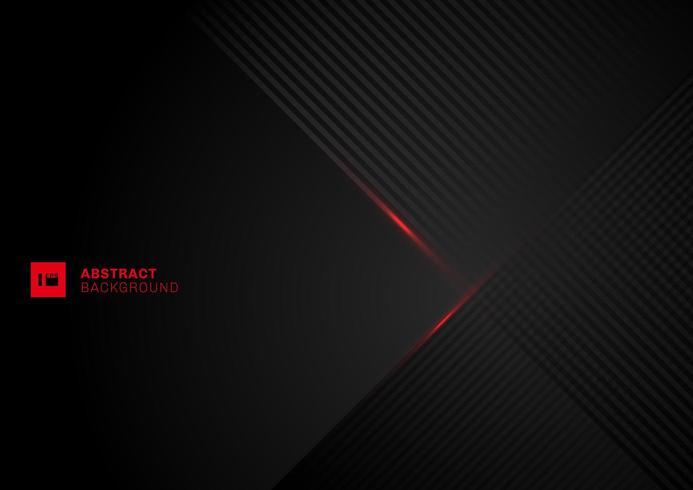 Abstrakte diagonale Linien Musterüberlappung mit roter Laserlinie auf schwarzem Hintergrund. vektor