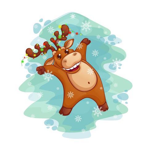 Jultomten dansar hjortar med en girland på hornen vektor