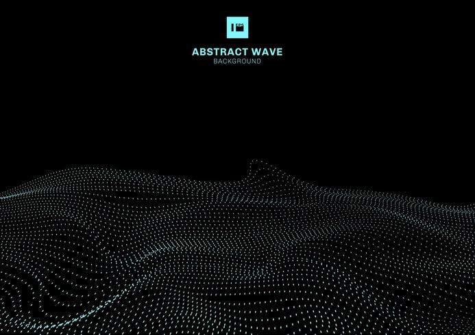 Abstrakt blå dynamisk våg av partiklar på futuristisk teknologibegrepp för svart bakgrund. vektor