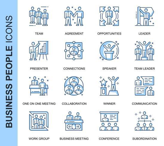 Blå tunn linje affärsfolk relaterade ikoner set vektor