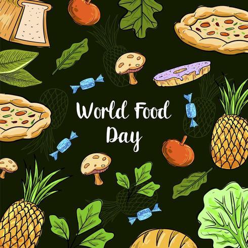 Världsmatdag med färgglada fruktmönster vektor
