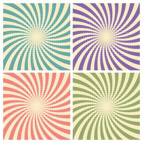 Uppsättning av cirkus grafisk radie effekter retro grön, blå, lila, röd vektor