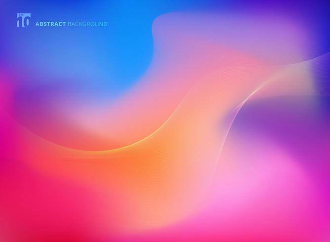 Abstrakt färgrik suddig bakgrund med släta linjerkurva vektor