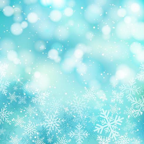 Vintern vit jul bokeh blå och glittrande ljus Festlig bakgrund vektor