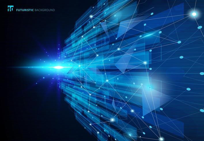 Abstrakt molekyler blått virtuellt teknologibegrepp futuristiskt vektor