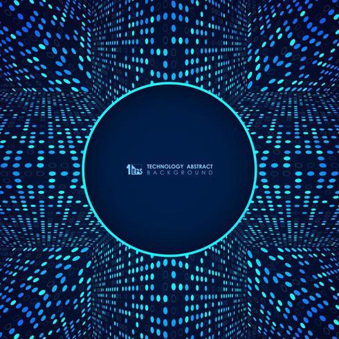 Blå futuristisk modern teknik glödande prickmönster vektor