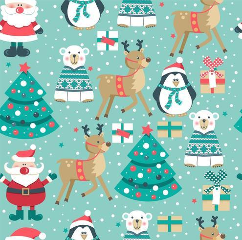 Sömlös julmönster med jultomten, björnen, pingvin, hjortar och träd vektor