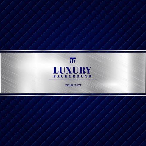 Blå bakgrund för lyxinbjudan med ett mönster av fyrkanten textur och silverband banner. vektor