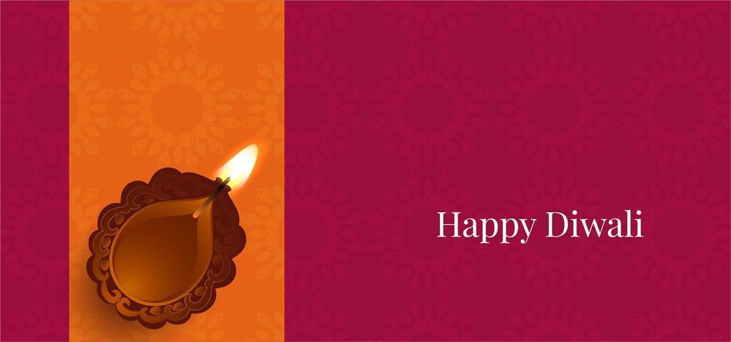 Einfacher glücklicher Diwali-Festivalgruß mit diya vektor