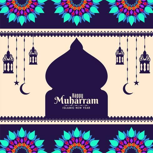 Glücklicher Muharran bunter mutiger geometrischer Hintergrund vektor
