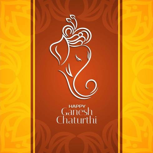 Ganesh Chaturthi guld och brun bakgrund vektor