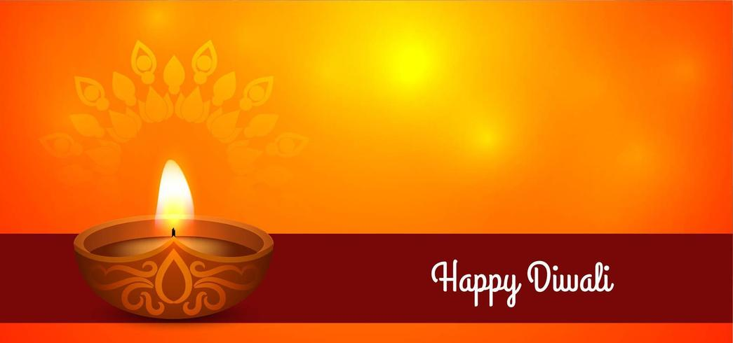Einfacher glücklicher Diwali-Gruß mit diya vektor