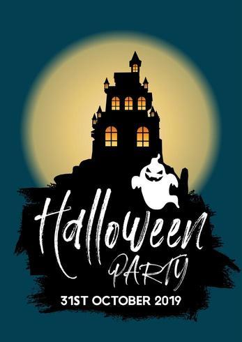 Halloween-Party laden mit Schloss und Geist ein vektor