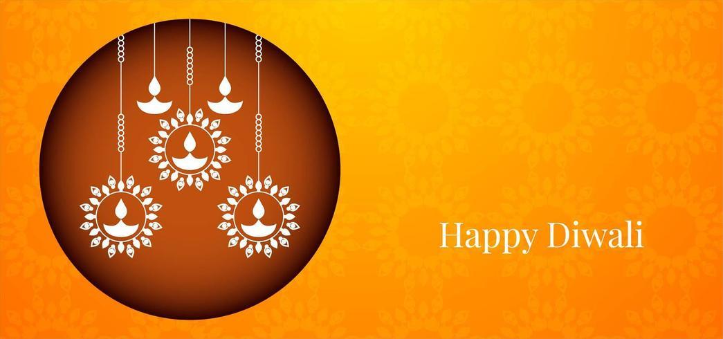 Einfacher glücklicher Diwali-Gruß mit rundem grafischem diya Muster vektor