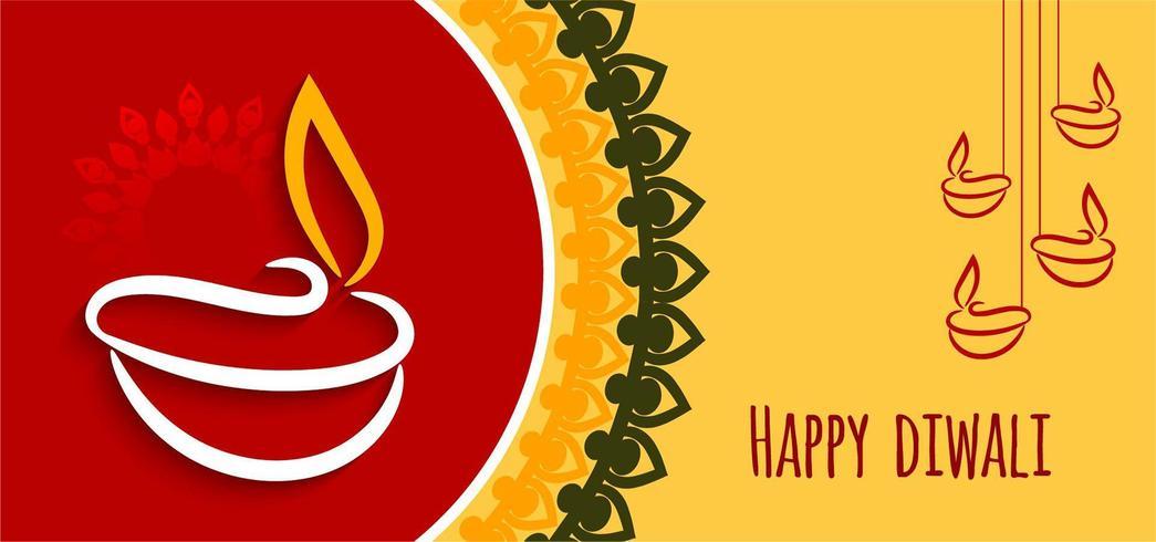Einfacher grafischer gelber roter glücklicher Diwali-Hintergrund vektor