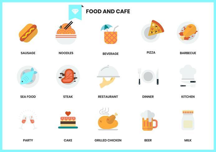 Satz Lebensmittel- und Caféikonen vektor