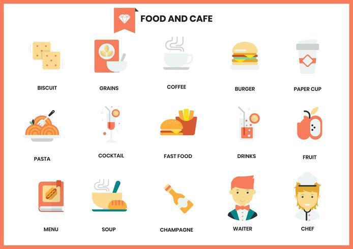 Mat- och kafésymbolsuppsättning för affär på vit vektor