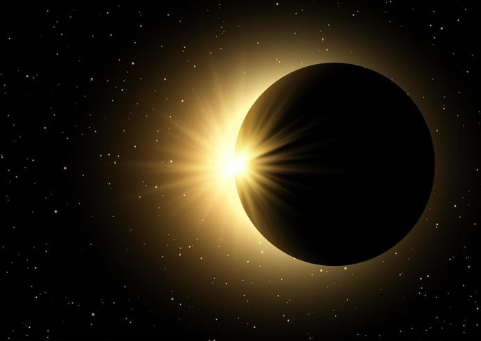 Raumhimmelhintergrund mit Sonnenfinsternis vektor