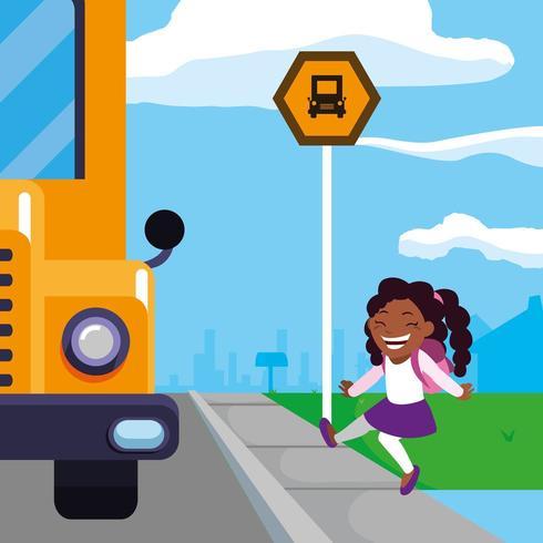 glücklicher Student in der Schulbushaltestelle Szene vektor