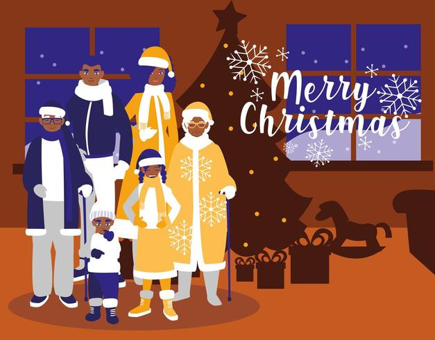 grupp familj med kläder jul i huset vektor