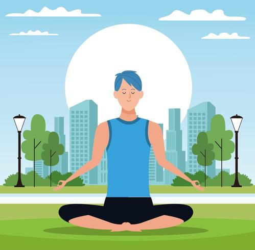 Mann, der in der Yogahaltung im Park sitzt vektor