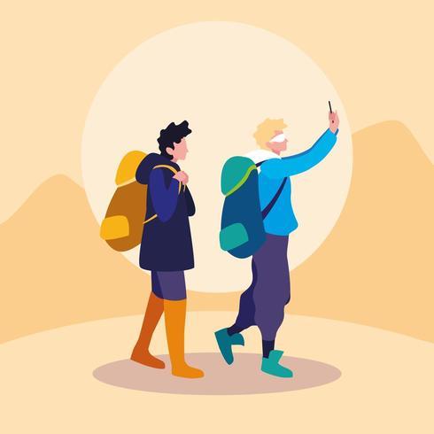 unga män resenär avatar karaktär vektor