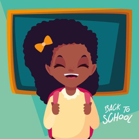 söt liten studentflicka i affisch tillbaka till skolan vektor