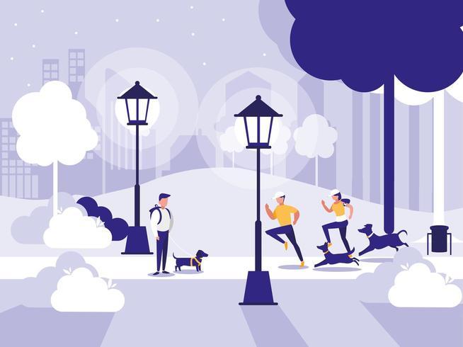 Menschen im Park mit Lampen isoliert Symbol vektor