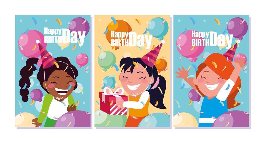 Geburtstagskarte mit kleinen feiernden Mädchen vektor