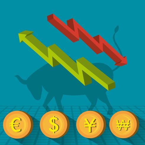 Geschäftsbörsenikonen vektor