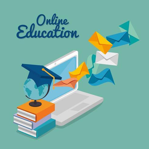 bärbar dator med utbildning online tjänst vektor