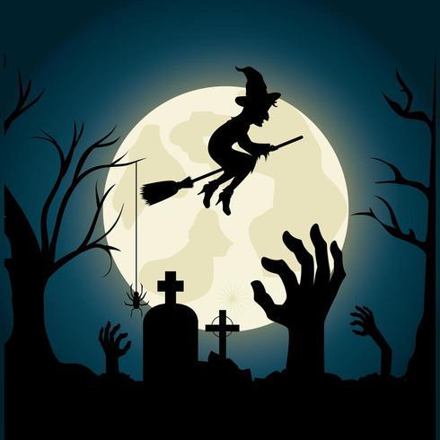 Glad halloween festivalpartidesign med häxan över kyrkogården vektor