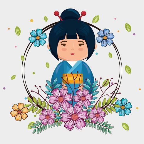 kawaii japansk flicka med blommor vektor