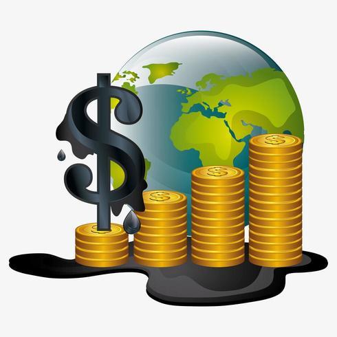 Ölpreise entwerfen mit Münzen und Kugel vektor
