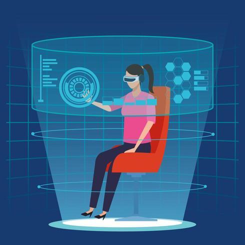 Kvinna med virtual reality-teknologi vektor