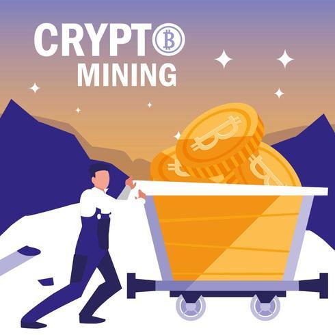bitcoins för gruvdrift för arbetare vektor