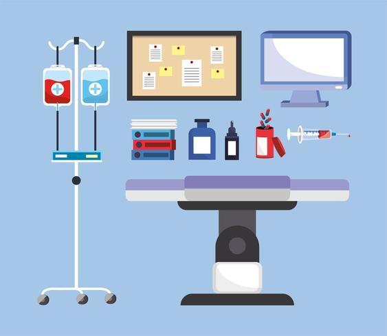 Set medizinische Utensilien mit Trage und Blutspende vektor