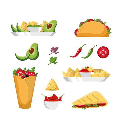 Mexikanisches Essen festgelegt vektor