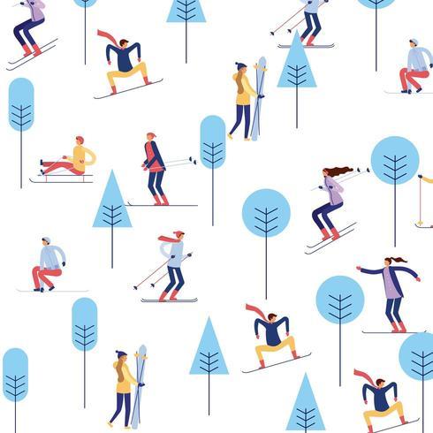 Leute, die auf Berg mit Bäumen Ski fahren vektor